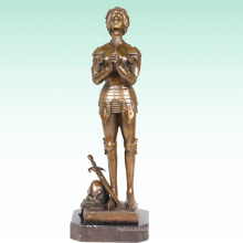 Female Home Deco Soldier Saint Joan Bronze Sculpture Statue Tpy-447